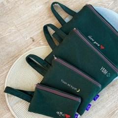 그린 아이패드 갤럭시탭 태블릿 파우치 가방/이름자수 핸드폰가방