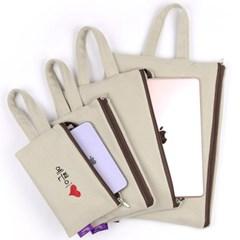 베이지 아이패드 갤럭시탭 태블릿 파우치 가방/이름자수 핸드폰가방