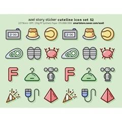 아젤스토리스티커_ cute line icon set 51~60