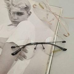 무테 투명한 도수없는 가벼운 실버 골드 패션 안경
