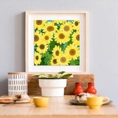 해바라기꽃밭 풍수지리 일러스트 캔버스그림