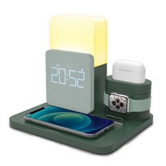 스마트폰 에어팟 버즈 한번에 고속 무선충전 겸 디지털알람시계