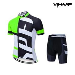 VIMAAP 반팔 져지 싸이클복 자전거의류 - 화이트/그린