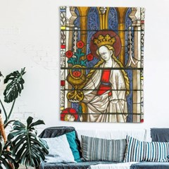 패브릭 포스터 스테인드글라스 여왕과 꽃