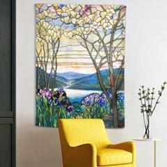 패브릭 포스터 스테인드글라스 꽃과 나무