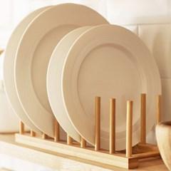 밤부 접시 그릇 수납 거치대 정리대 (6칸)
