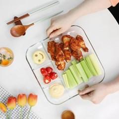 글라스 칸칸 나눔접시 2size 택1 / 다이어트식판