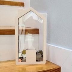 원목 투명 동전 저금통 인테리어 빌딩