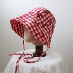 플라워 체크 끈 보넷 와이어 벙거지 모자 버킷햇 (2color)