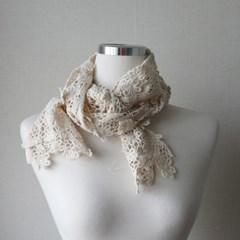 데일리 플라워 레이스 니트 여성 스카프 (3color)
