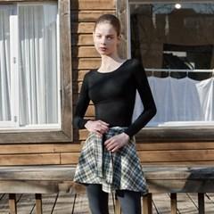 여성 요가복 DEVI-T0056-블랙 필라테스 슬림핏 물결긴팔티