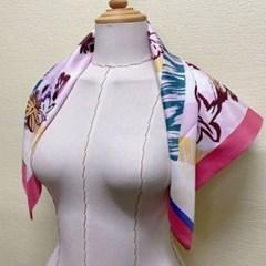 플라워 꽃무늬 쁘띠 실키 데일리 미시 패션 스카프