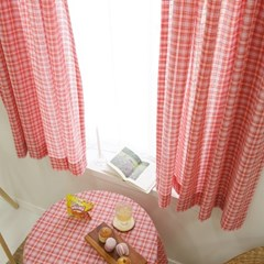 작은창 가리개 커튼-스티치자수 핑크체크