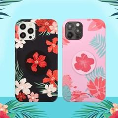 나인어클락 하와이안 플라워 하드 슬림 케이스+스마트톡 세트 아이폰