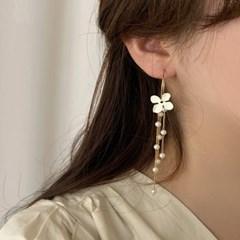 [귀찌가능] 진주체인 꽃 웨딩촬영 링 드롭 귀걸이