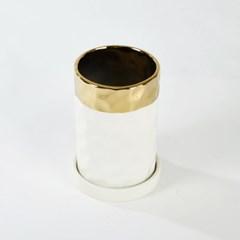 [모던하우스] 원형라운드화분 H15cm 화이트골드