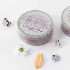Ceramic Plate Masking Tape [Gingham Flower 1]