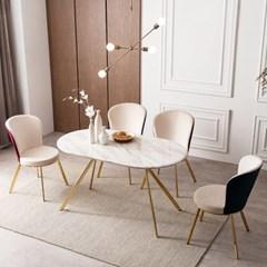 모딜리아니 대리석 골드 라운드 4인 식탁 테이블