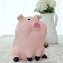 앉은 핑크 돼지 저금통