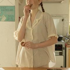 [울랄라파자마] 앤의 쿠키 반팔 여성페어 베이지