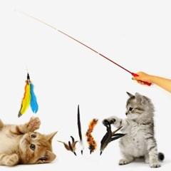 고양이 깃털낚시대+리필 5종 반려묘 카샤카샤 장난감