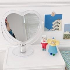 레트로 하트 아크릴 각도 조절 책상 탁상 양면 화장 거울 3color