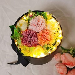 프리저브드 돈꽃다발 전구포함 2단 비누꽃 플라워용돈박스