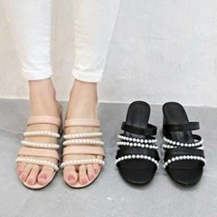 kami et muse Pearl beads strap heel slippers_KM21s121