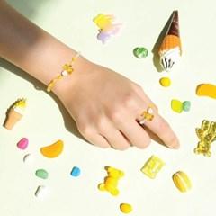 [라이트썸머] 곰돌이 젤리 비즈 반지+팔찌 2종 세트_옐로우