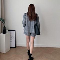 여자 여름 데일리 이너 핏좋은 깔끔 싱글 체크 자켓