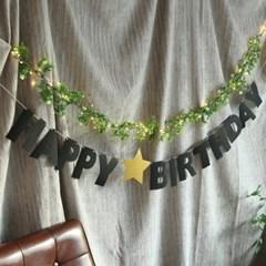 플라워 생일 파티 장식세트(블랙)
