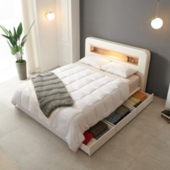 가구데코 헤밍 LED 3서랍수납형 7존독립 K 침대 DM2081