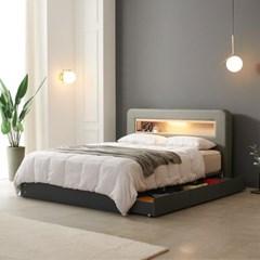 가구데코 헤밍 LED 3서랍수납형 독립스프링 Q 침대 DM2070