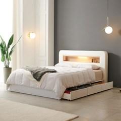 가구데코 헤밍 LED 3서랍수납형 독립CL텍스 Q 침대 DM2071