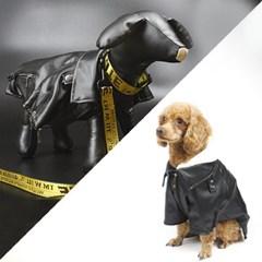강아지가죽자켓 가죽점퍼 라이더자켓