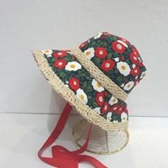 턱끈 플라워 꽃무늬 레이스 패션 버킷햇 벙거지 모자