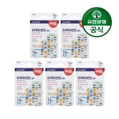 [유한양행]해피홈 아쿠아 방수 멸균밴드(패턴) 16매입 5개