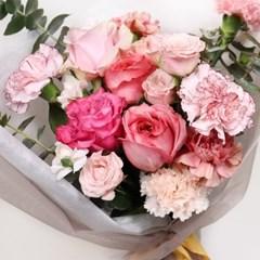 [사전주문] 고급스러운 무드, 핑크빛 카네이션 꽃다발 (생화)