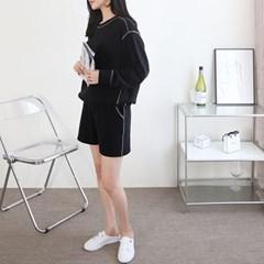 여자 유니크 스트릿 루즈핏 배색 선 긴팔 맨투맨