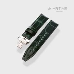 [MR TIME Crocodile Leather Green] 악어가죽 시계줄 디버클 그린