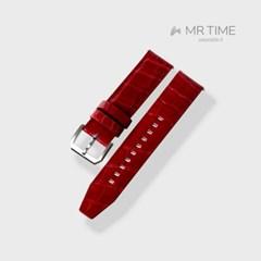 [MR TIME Crocodile Leather Red] 악어가죽 시계줄 핀버클 레드