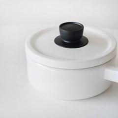 푸지 블랙화이트 법랑 편수냄비 18cm_(1859014)