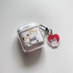 엎어지기 에어팟 1,2세대 투명 하드 케이스