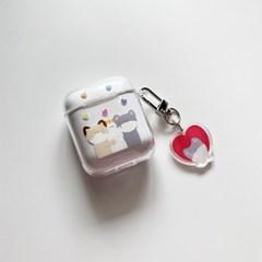 껴안기 에어팟 1,2세대 투명 하드 케이스