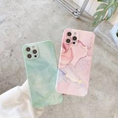 핑크민트 마블 아이폰 카메라보호 실리콘 풀커버케이스