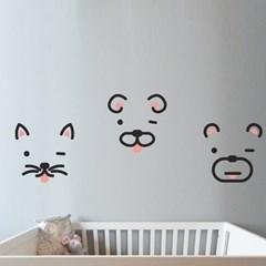 윙크하는 동물들 인테리어 스티커