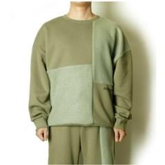 남자 색감좋은 베이직 배색 포인트 오버핏 절개 기모 맨투맨