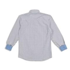 남자 잔 단가라 소매 포인트 배색 나들이룩 셔츠