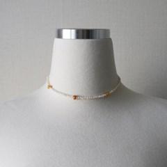 컬러 수정 원석 담수진주 짧은 목걸이 초커 (2color)