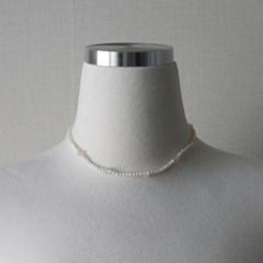 파스텔 수정 원석 담수진주 짧은 목걸이 초커